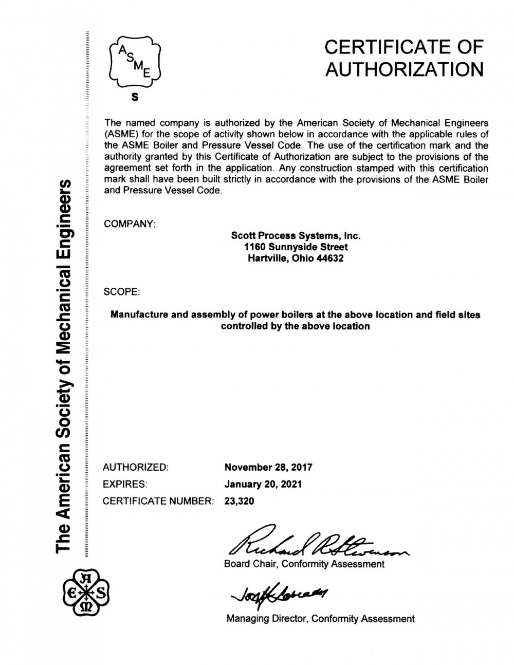 ASME Power Boilers Certificate